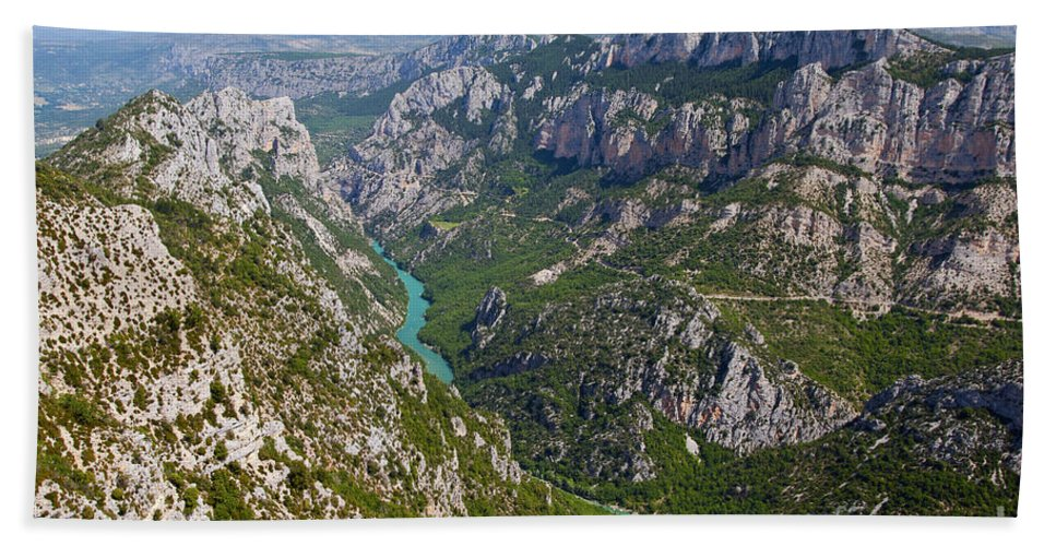 Gorge Du Verdon France River Rivers Water Tree Trees Canyon Canyons Gorges Landscape Landscapes Provence Mountain Mountains Bath Sheet featuring the photograph Mountain Gorge by Bob Phillips