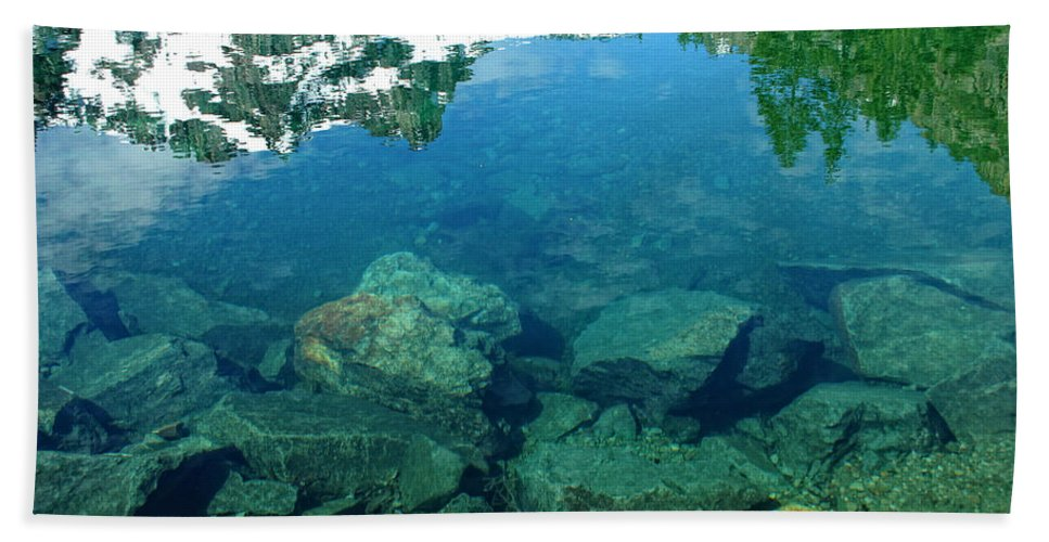 Lake Hand Towel featuring the photograph Mountain Lagoon by Donna Blackhall