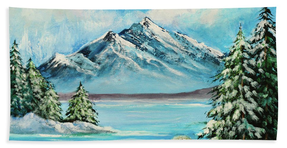 Art Bath Sheet featuring the painting Mountain Lake In Winter Original Painting Forsale by Bob and Nadine Johnston
