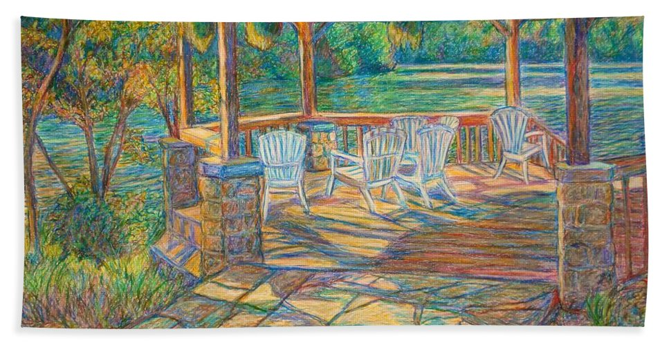 Lake Hand Towel featuring the painting Mountain Lake Shadows by Kendall Kessler