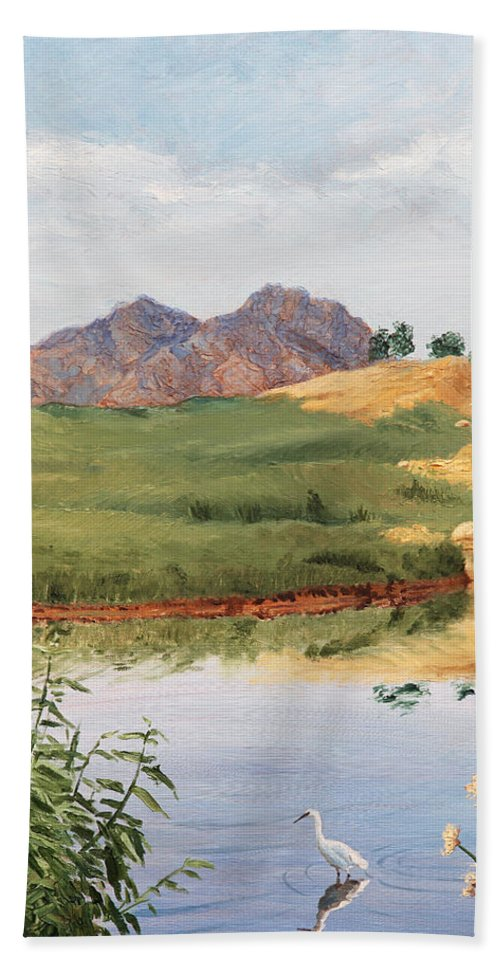 Animals Hand Towel featuring the painting Mountain Landscape With Egret by Masha Batkova