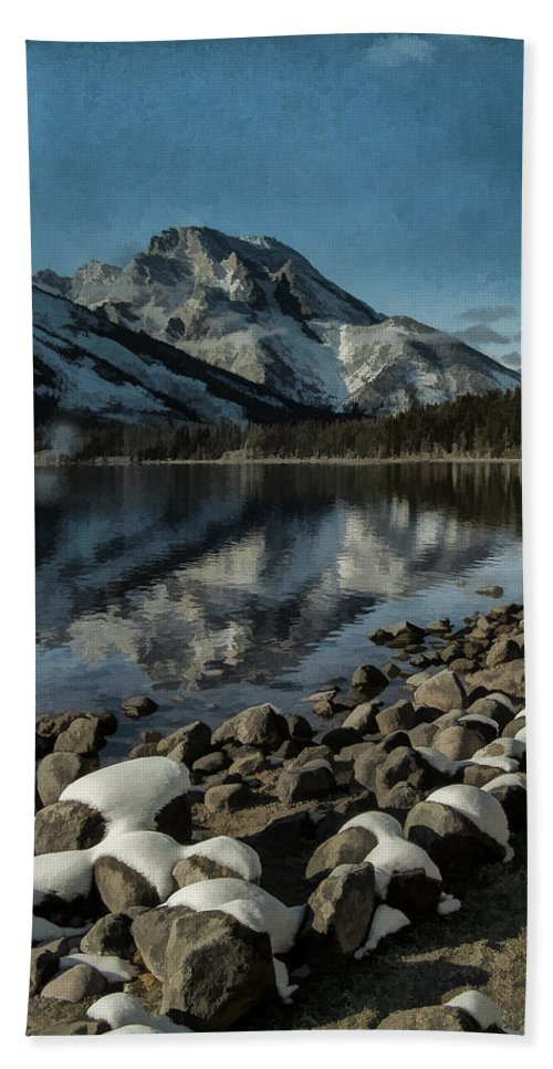 Lake Hand Towel featuring the photograph Mountain Reflection by Erika Fawcett
