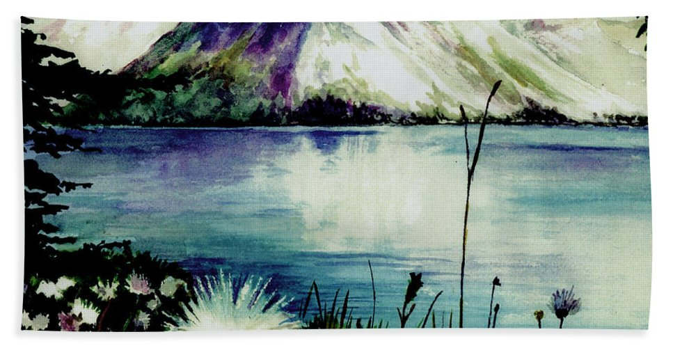 Landscape Bath Sheet featuring the painting Mountain Serenity by Brenda Owen