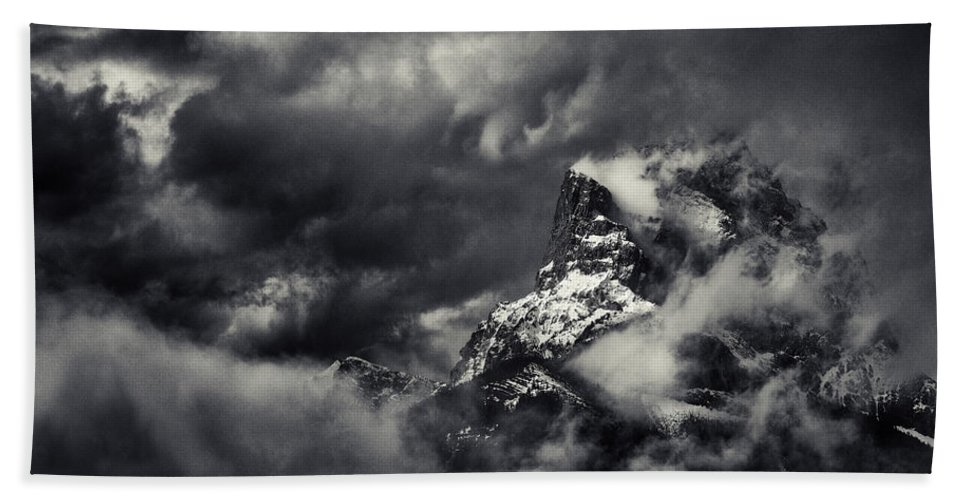 Misty Hand Towel featuring the photograph Mountain Storm Banff by Peter v Quenter