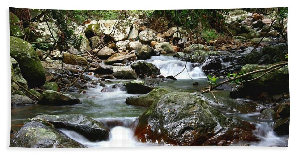Stream Hand Towel featuring the photograph Mountain Stream by Darren Burton