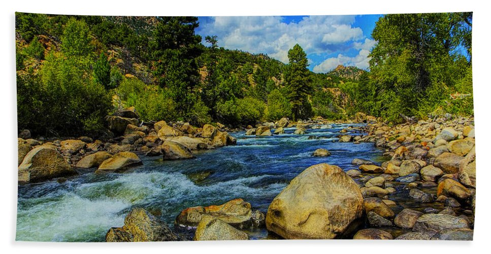 Mountain Hand Towel featuring the photograph Mountain Stream by Ingrid Smith-Johnsen