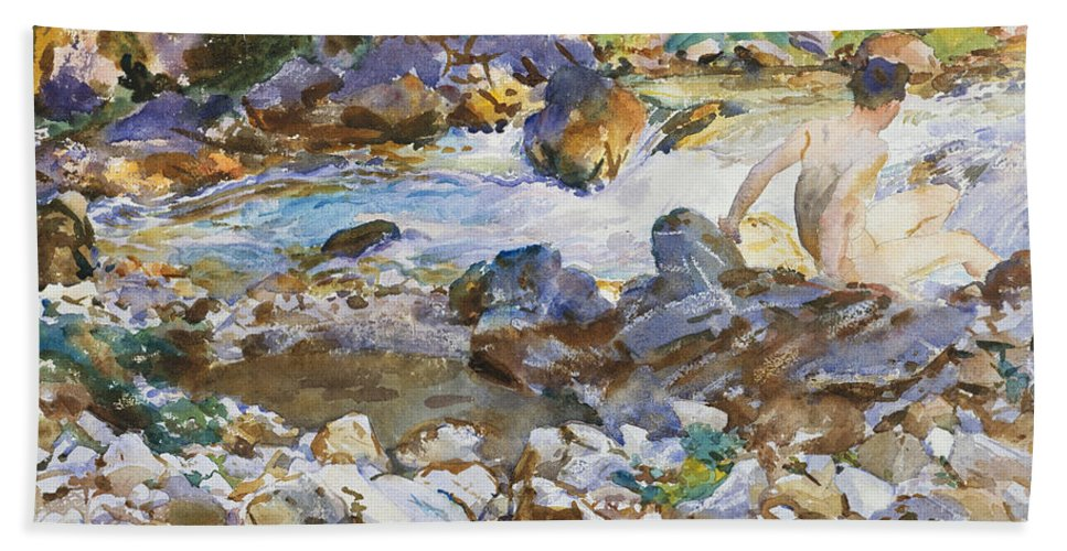 John Singer Sargent Hand Towel featuring the painting Mountain Stream by John Singer Sargent