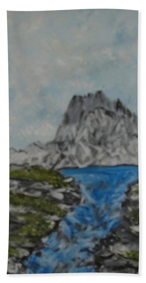 Mountains Hand Towel featuring the painting Mountain Stream by Suzanne Surber