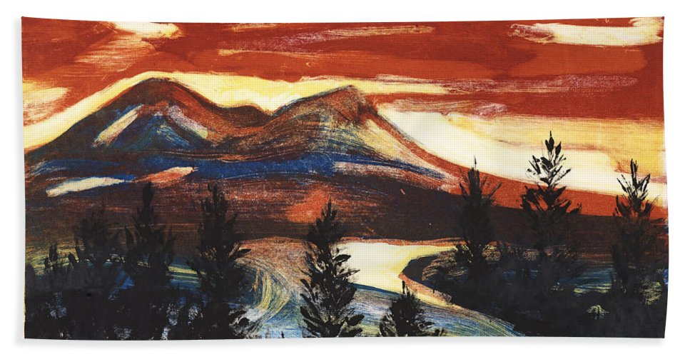 Christmas Cards Bath Sheet featuring the painting Mountain Sunset by Stella Sherman