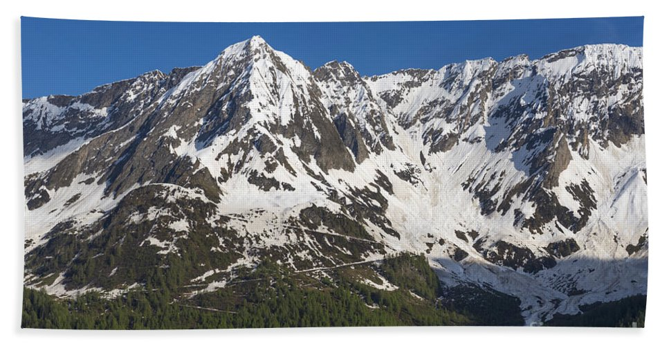 Snow-capped Bath Sheet featuring the photograph Mountain Top by Mats Silvan