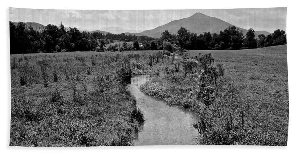 Mountains Hand Towel featuring the photograph Mountain Valley Stream by Frozen in Time Fine Art Photography