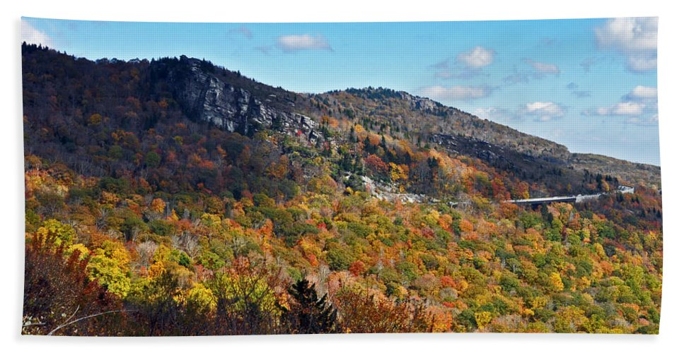 Lin Cove Bath Sheet featuring the photograph Mountain View From Linn Cove Viaduct by Lydia Holly
