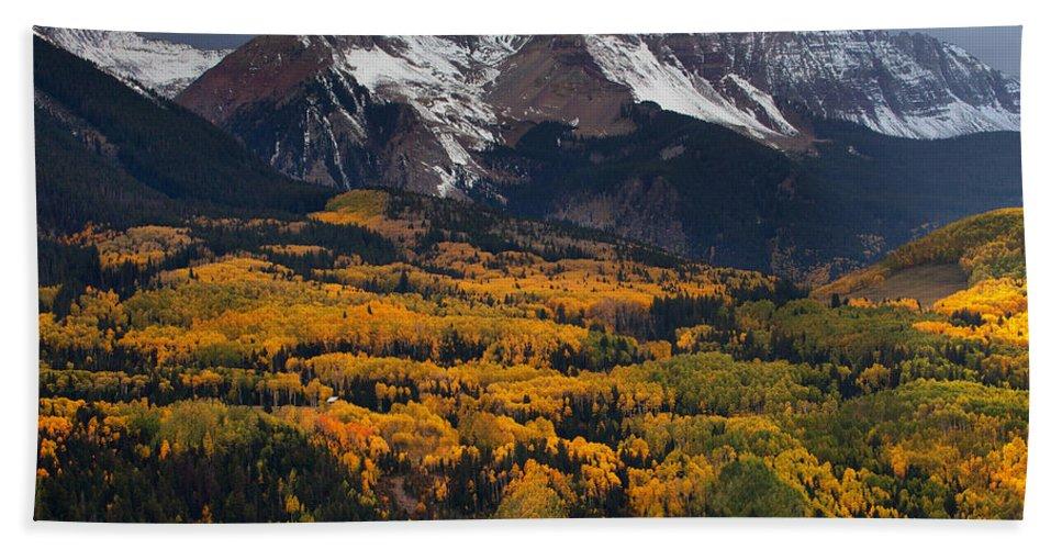 Colorado Landscapes Bath Sheet featuring the photograph Mountainous Storm by Darren White