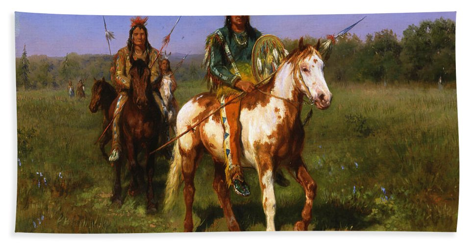 Rosa Bonheur Hand Towel featuring the painting Mounted Indians Carrying Spears by Rosa Bonheur