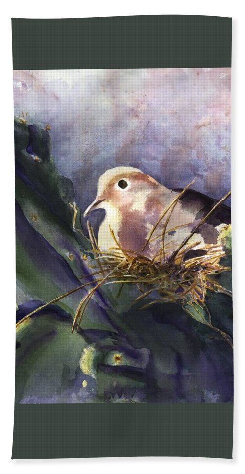 Doves Hand Towel featuring the painting Patience Is A Virtue by Maria Hunt