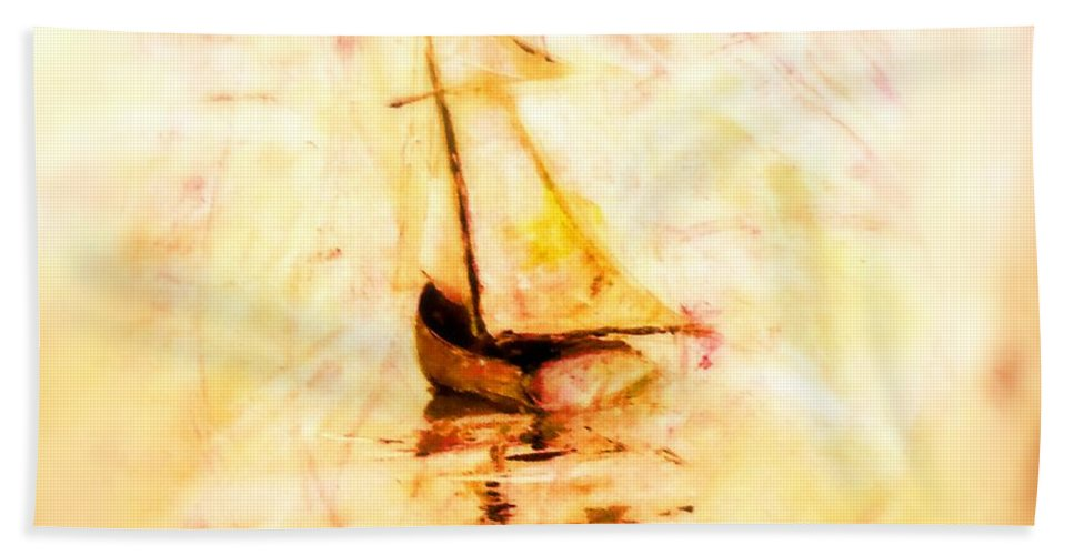 Boats Bath Sheet featuring the painting Move With The Waves by Marcello Cicchini