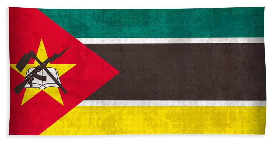 Mozambique Hand Towel featuring the mixed media Mozambique Flag Vintage Distressed Finish by Design Turnpike