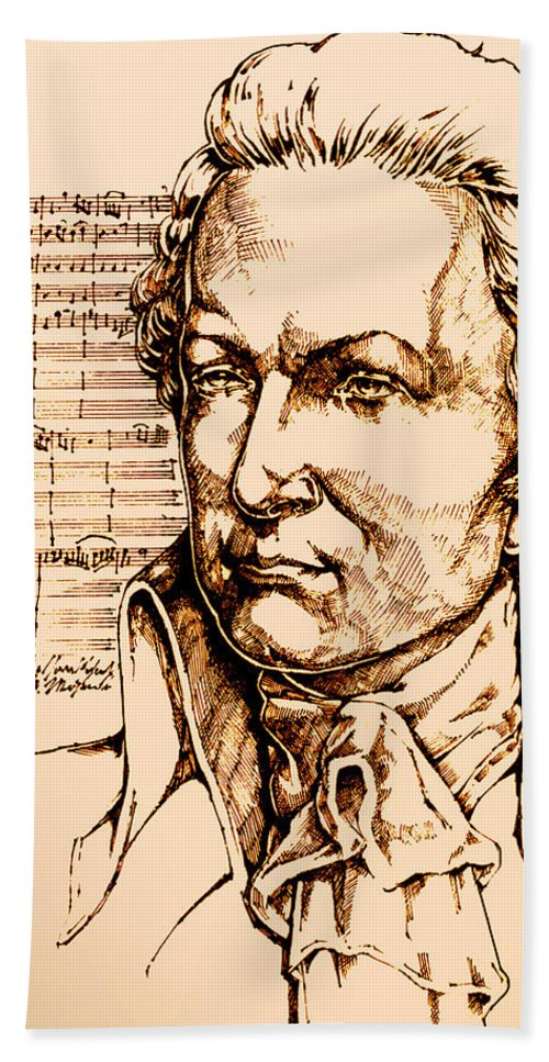 Mozart Hand Towel featuring the drawing Mozart by Derrick Higgins