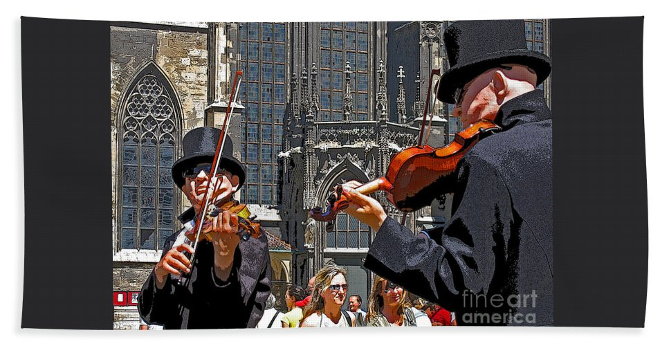Buskers Hand Towel featuring the photograph Mozart In Masquerade by Ann Horn