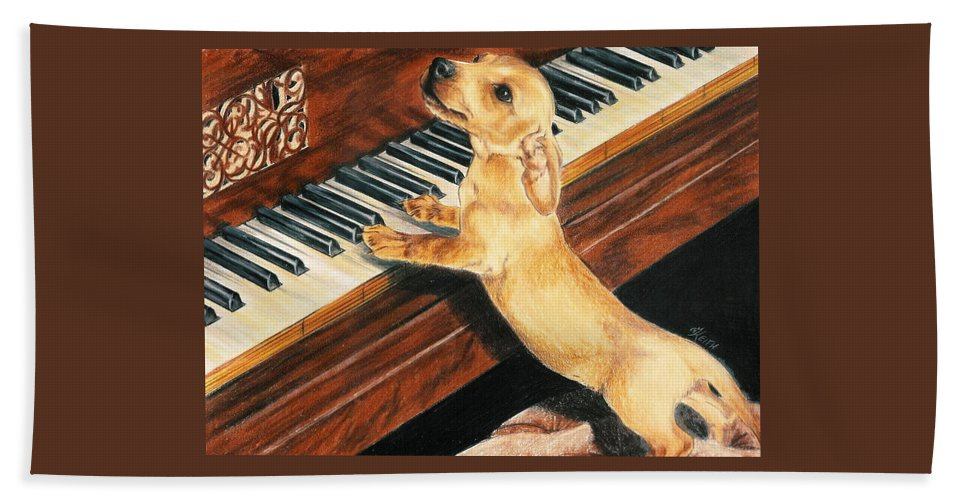Purebred Dog Bath Sheet featuring the drawing Mozart's Apprentice by Barbara Keith