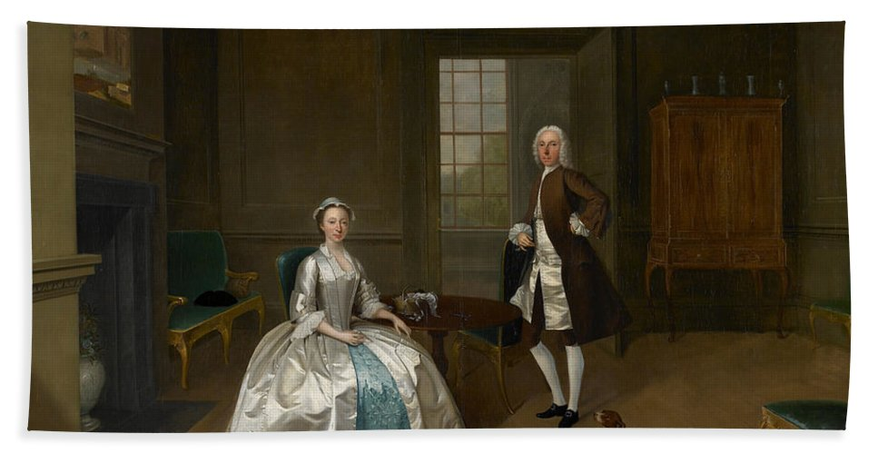 Arthur Devis Hand Towel featuring the painting Mr And Mrs Atherton by Arthur Devis