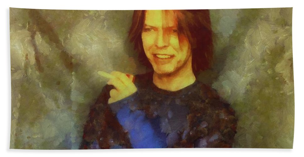 David Bowie Bath Sheet featuring the painting Mr Bowie by Janice MacLellan