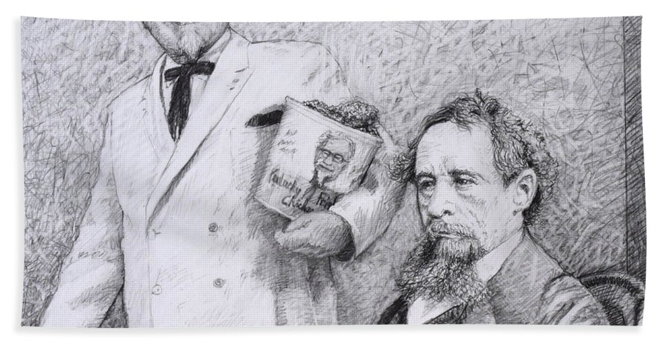 Charles Dickens Bath Towel featuring the drawing Mr Chicken And Mr Dickens by James W Johnson
