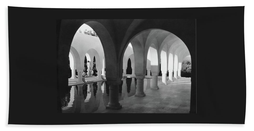 Exterior Bath Towel featuring the photograph Mr George Sebastian And His Wife Next by George Hoyningen-Huene