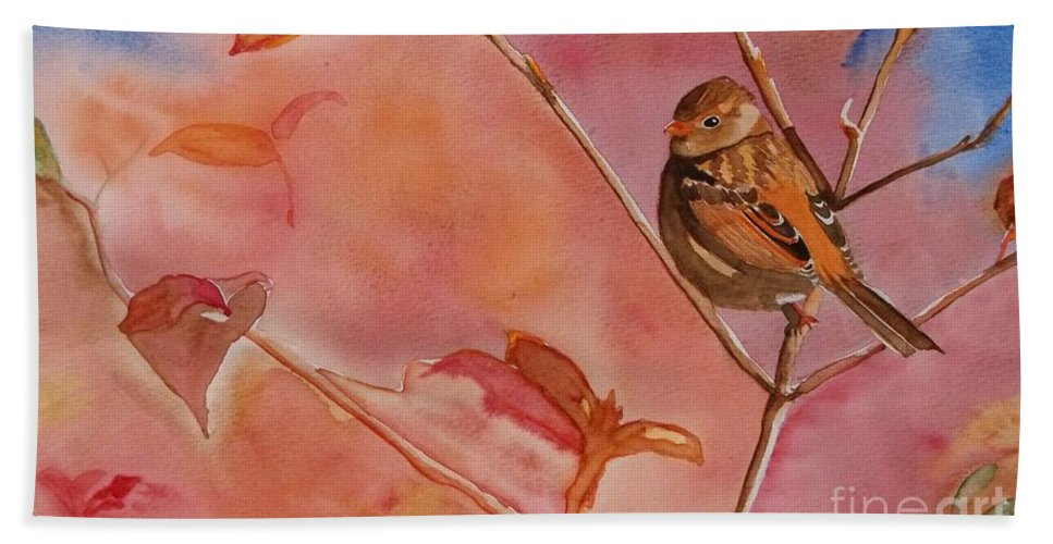 Bird Hand Towel featuring the painting Mr. Red by Lise PICHE