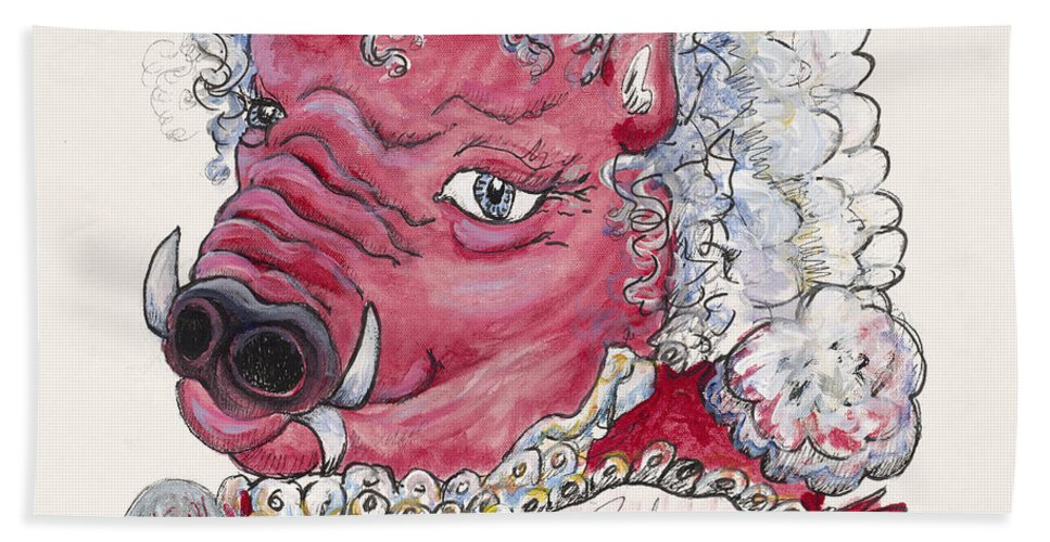 Mrs. Claus Hand Towel featuring the painting Mrs. Claus Hog by Nadine Rippelmeyer