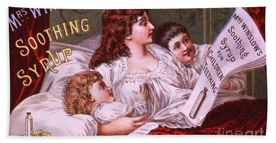 Science Hand Towel featuring the photograph Mrs Winslow's Soothing Syrup by NLM Science Source