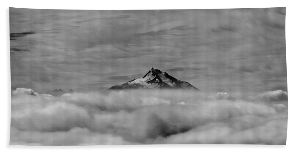 Mt. Jefferson Bath Sheet featuring the photograph 105355-mt. Jefferson Above The Clouds,or,bw by Ed Cooper Photography