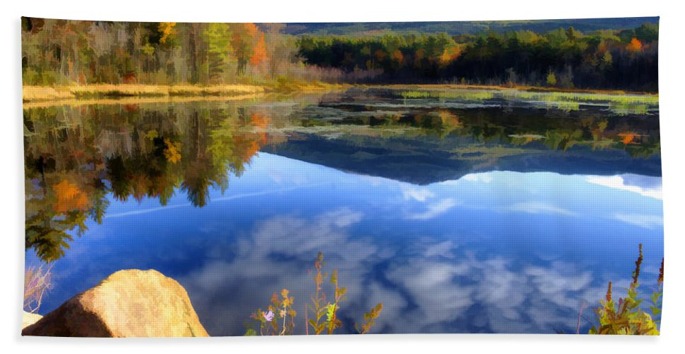 Mountain Hand Towel featuring the photograph Mt. Monadnock Reflection by Donna Doherty