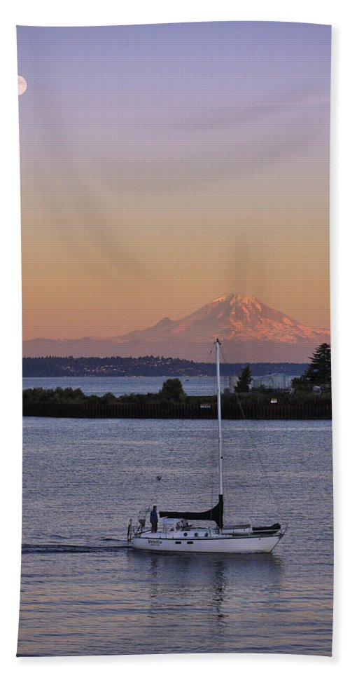 3scape Photos Hand Towel featuring the photograph Mt. Rainier Afterglow by Adam Romanowicz