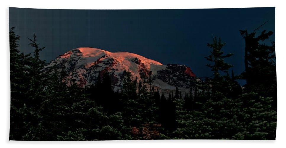 Mt Rainier Bath Sheet featuring the photograph Mt Rainier At Dawn by Albert Seger