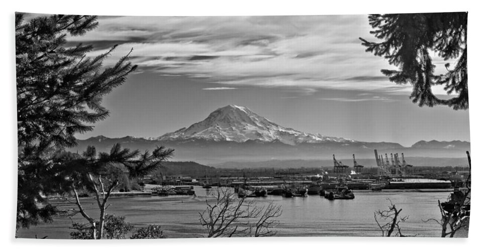 Black And White Bath Sheet featuring the photograph Mt. Rainier Over The Port Of Tacoma by Tikvah's Hope