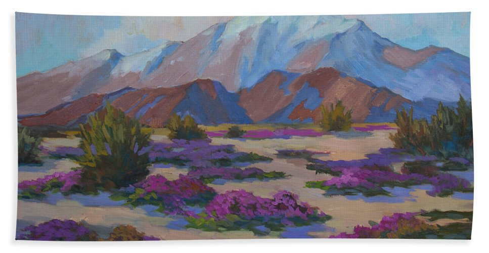Mt. San Jacinto Bath Sheet featuring the painting Mt. San Jacinto And Verbena by Diane McClary