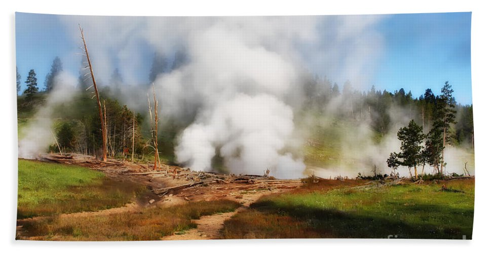 Nature Bath Sheet featuring the photograph Mud Volcano And Sulphur Caldron by Teresa Zieba