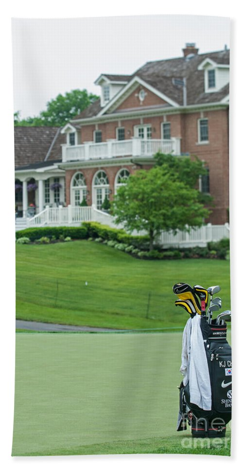 Memorial Tournament Hand Towel featuring the photograph D12w-289 Golf Bag At Muirfield Village by Ohio Stock Photography