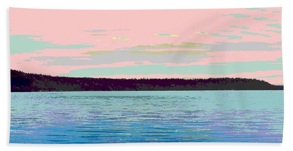 Abstract Bath Sheet featuring the digital art Mukilteo Clinton Ferry Panel 1 Of 3 by James Kramer