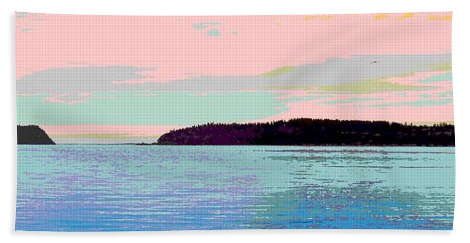 Abstract Bath Sheet featuring the digital art Mukilteo Clinton Ferry Panel 2 Of 3 by James Kramer