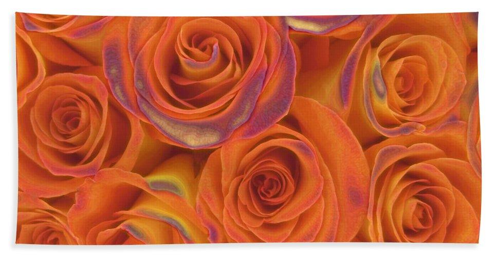 Rose Hand Towel featuring the photograph Multi Rose Electric Orange by Joseph Hedaya