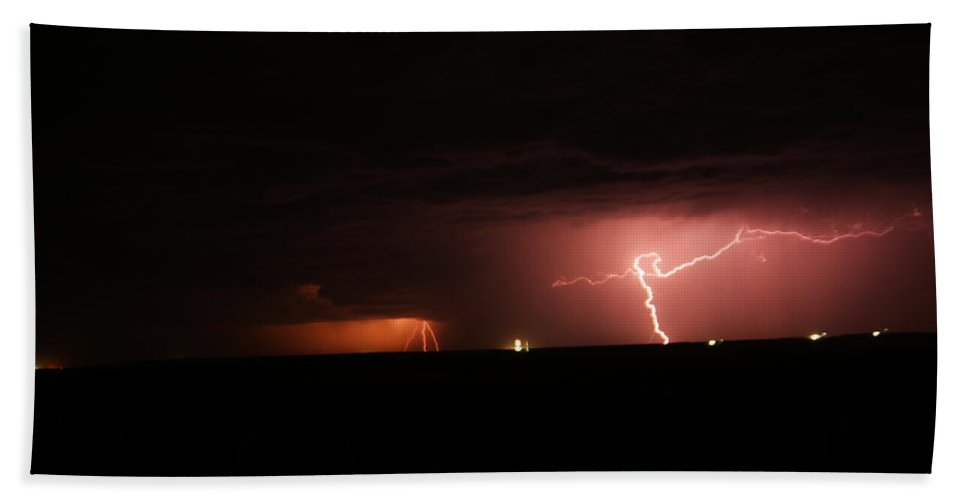 The Plains Bath Sheet featuring the photograph Multible Down Strikes In North Dakota by Jeff Swan