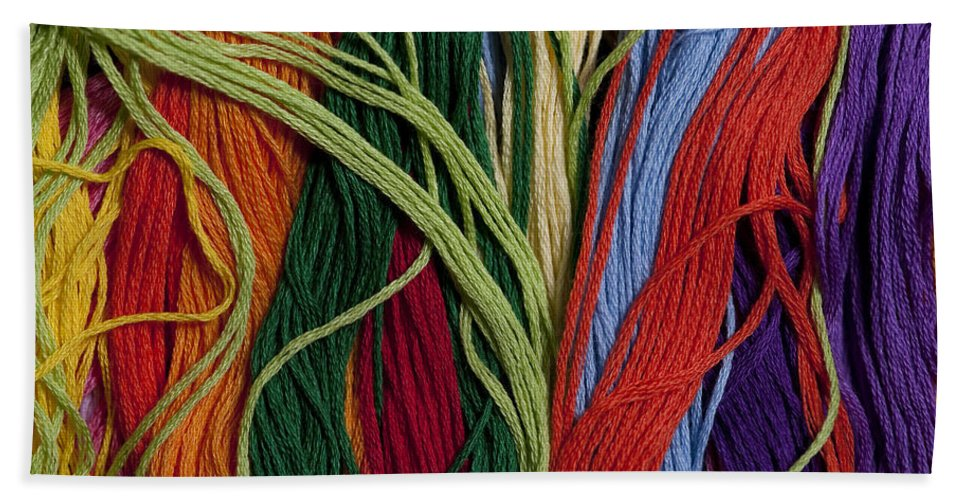 Abundance Bath Sheet featuring the photograph Multicolored Embroidery Thread Mixed Up by Jim Corwin