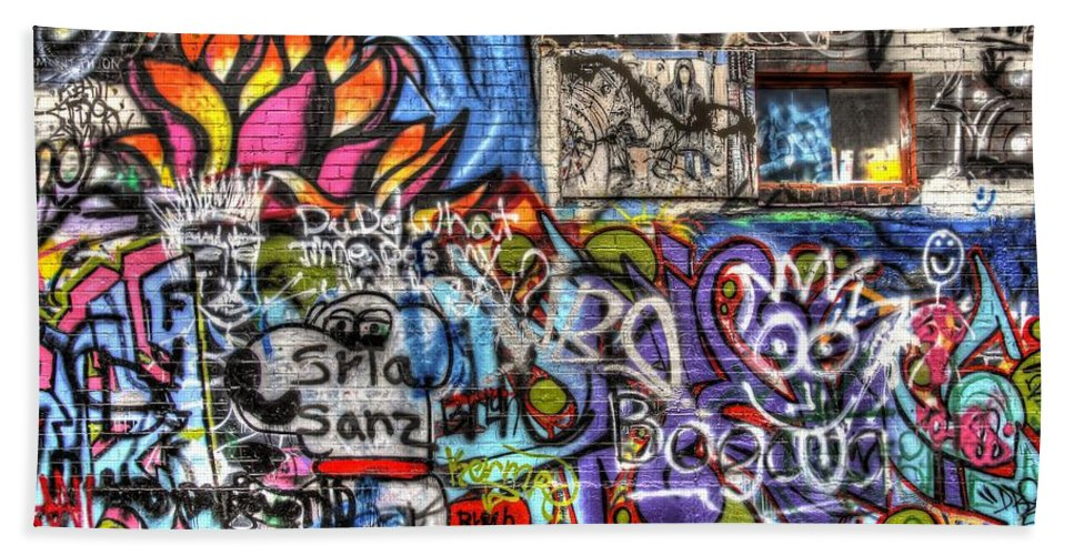 Graffiti Bath Sheet featuring the photograph Multiple Personalities by Anthony Wilkening
