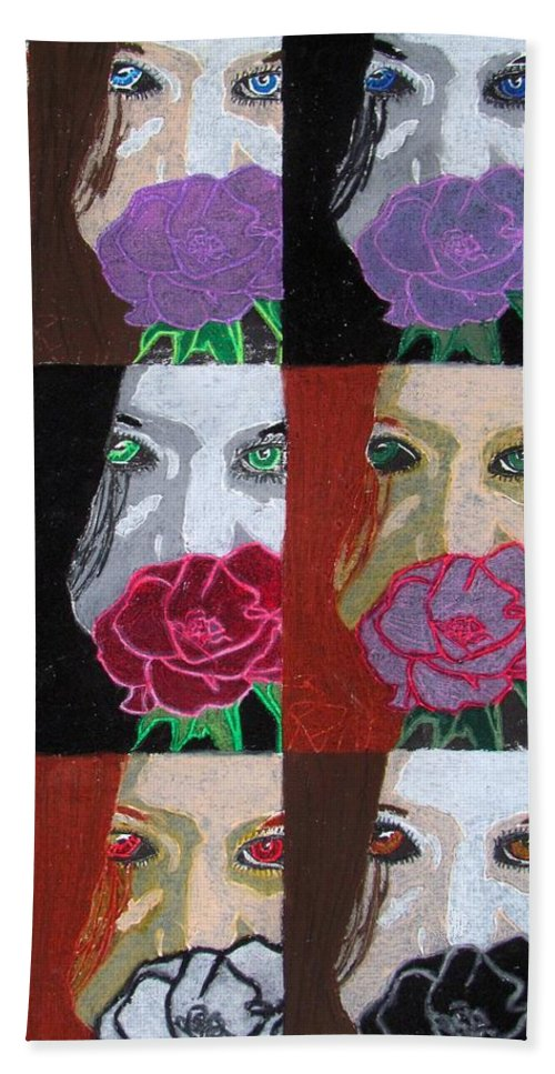 #portrait#print#stamp#popart Hand Towel featuring the drawing Multiple Personalities by Kayla Kuhns