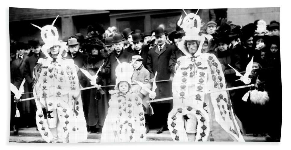 1909 Hand Towel featuring the photograph Mummers Circa 1909 by Bill Cannon