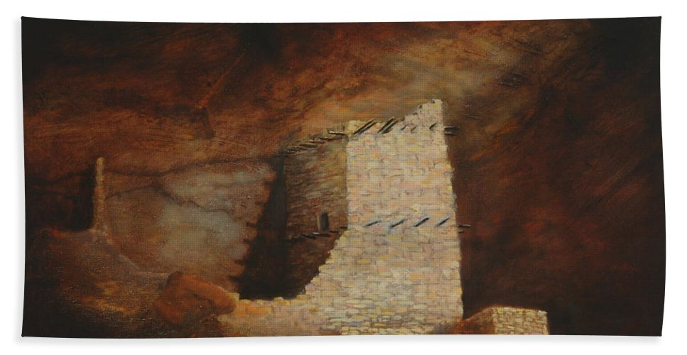 Anasazi Hand Towel featuring the painting Mummy Cave by Jerry McElroy