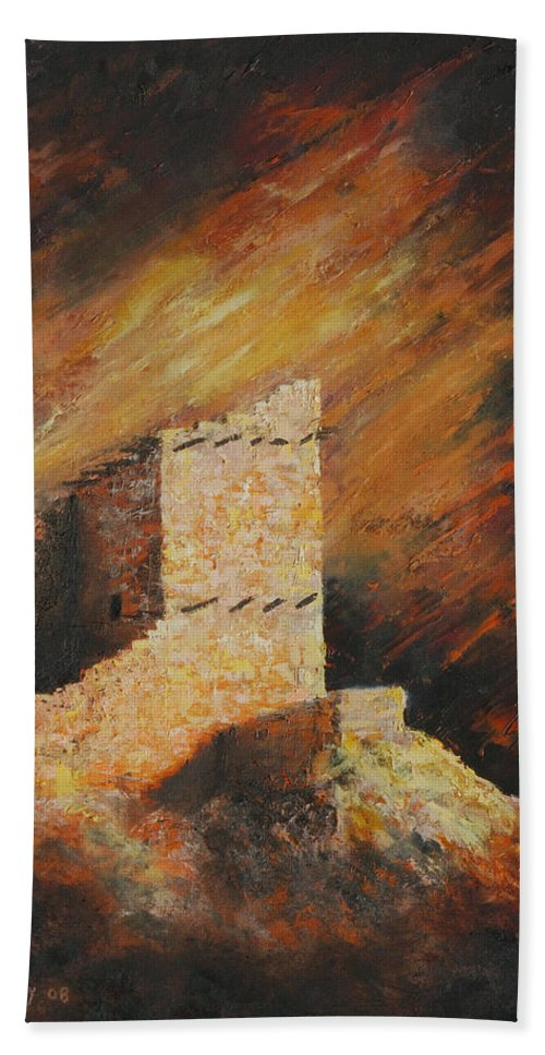 Anasazi Hand Towel featuring the painting Mummy Cave Ruins 2 by Jerry McElroy