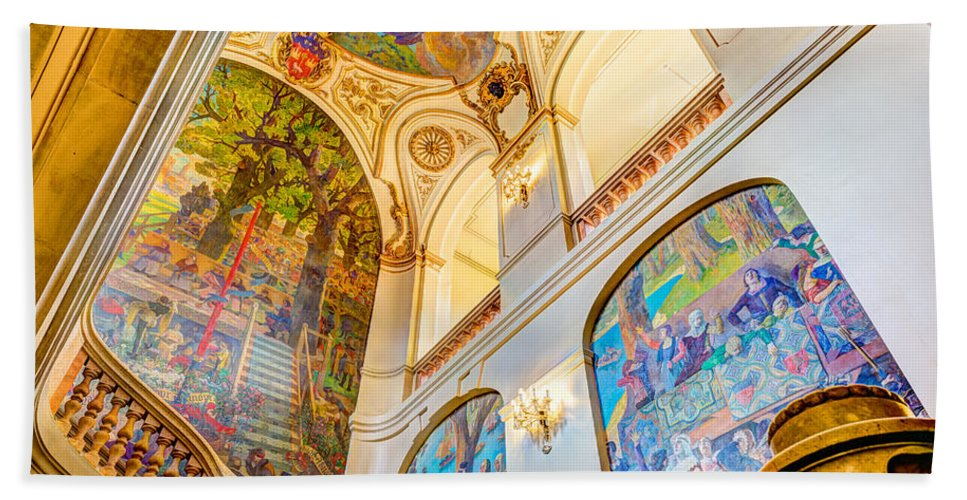 Art Hand Towel featuring the photograph Murals Of Capitole De Toulouse by Semmick Photo